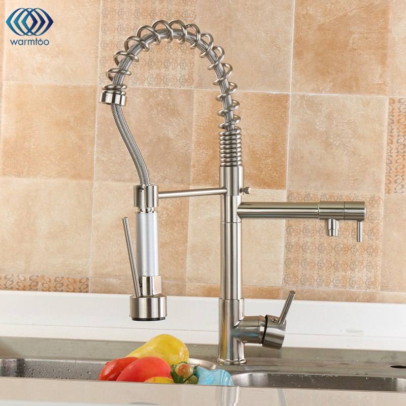Drawbench Pull Type Cold & Hot Water Tap Single Hole Double Handle Kitchen Basin Faucet Swivel Spout Sink Mixer Taps new pull out sprayer kitchen faucet swivel spout vessel sink mixer tap single handle hole hot and cold