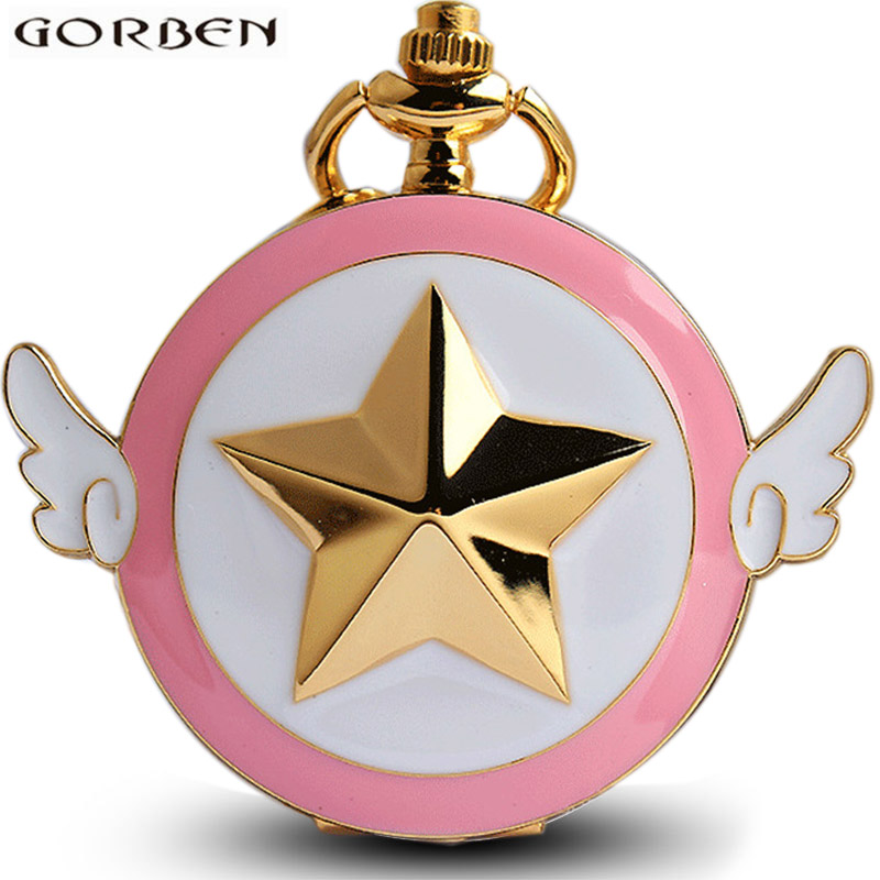 Watches Lovely Quartz Pocket Watch Japan Anime Magic Girl Cardcaptor Sakura Watches Cartoon Star Cosplay Gold Pink Fob Chain Women Clock