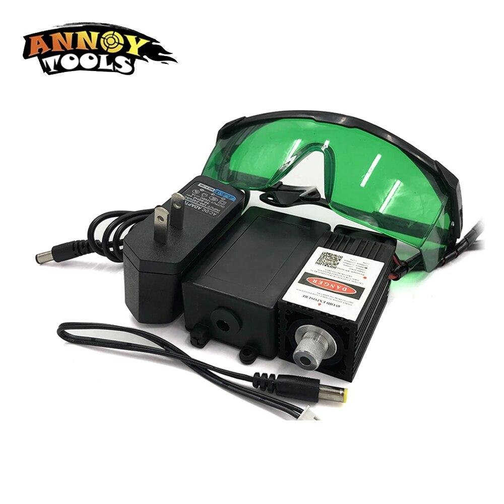 405nm 300mW 12V High Power TTL Adjustable Focus Blue Laser Module DIY Laser Engraver Accessories 0.3W Laser Head+eyewear