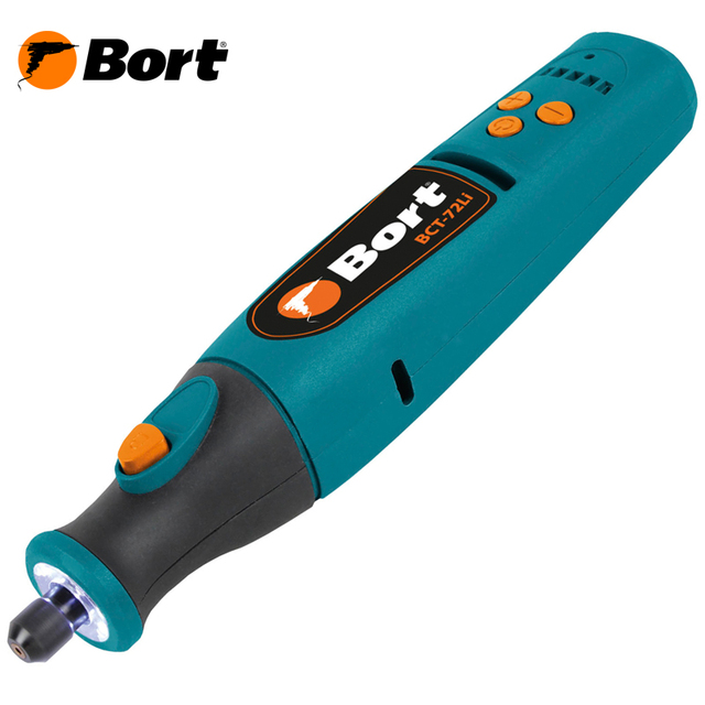Гравер аккумуляторный Bort BCT-72Li (Li-ion источник питания, регулировка скорости от 5000 до 25000 об.мин, яркая подсветка и набор насадок)