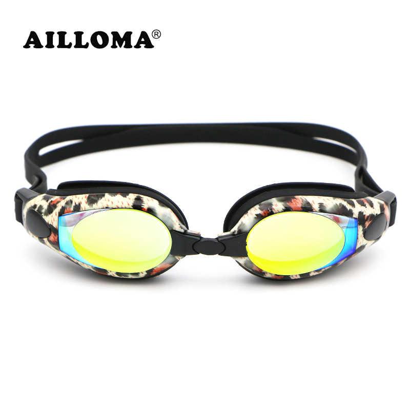 AILLOMA Professionele Zwembril Leopard Waterdicht Anti-fog UV 400 Vrouwen Water Sport Electroplated Swim Bril