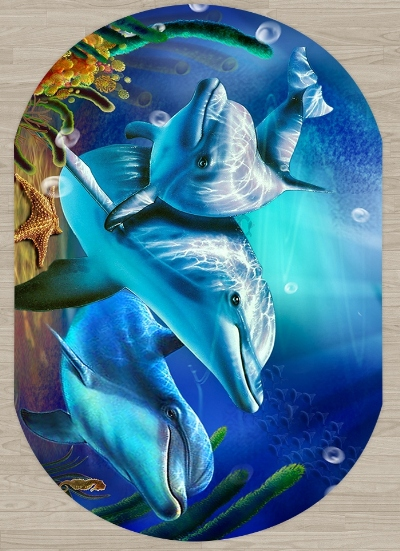 Else Blue Under Sea Swimming Dolphins 3d Pattern Print Non Slip Microfiber Living Room Modern Oval Washable Area Rug Carpet