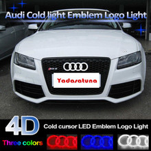 4D подсветкой автомобилей светодиодный Решетка BL светодиодный логотип для Audi A1 A3 A4 A5 A6 A7 Q3 Q5 Q7 TT r8 Передняя решетка эмблема логотип свет (27 см * 9.5 см