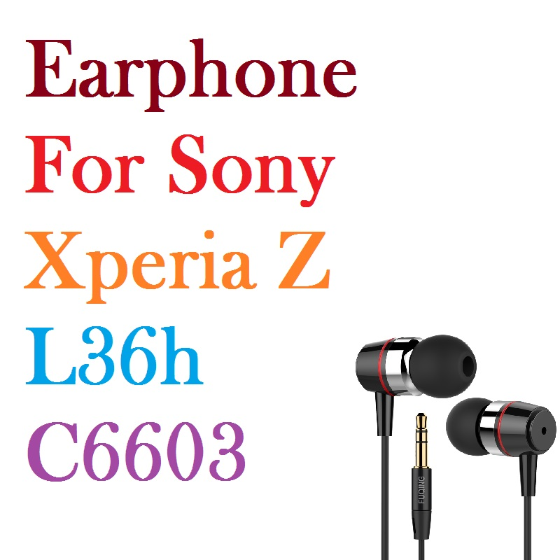 Super bass earphones Metal-Ear Universal 3.5MM clear voice amazing sound earphone for Sony Xperia Z L36h C6603 Free Shipping lcd display touch digitizer for sony xperia z lcd screen for l36h c6603 c6602 free shipping tool