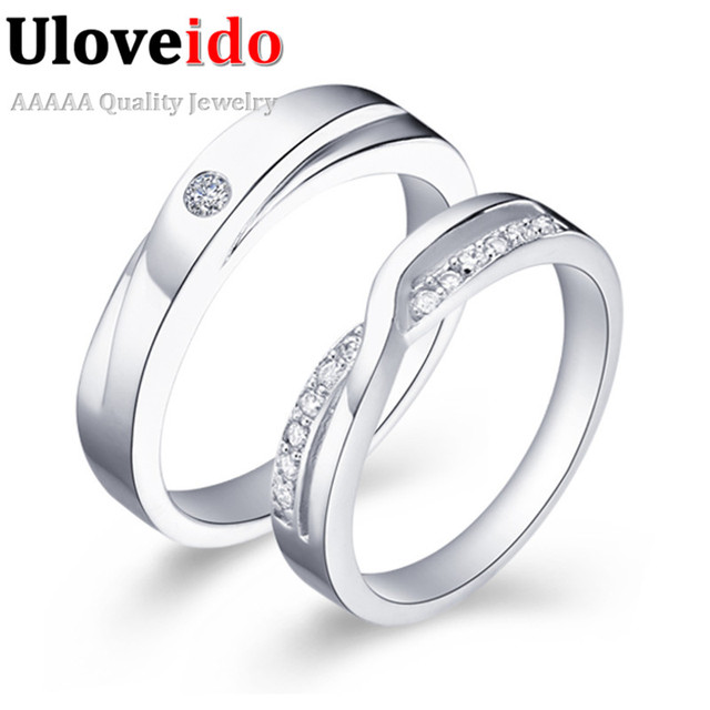 d9ef5a87dd Uloveido Couple Rings Wedding Ring Set for Women Men Valentine Day Gifts  For Lovers Cubic Zirconia Fashion Jewelry Anel J040