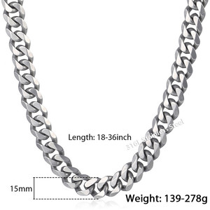 Image 2 - Trendsmax Matte Brushed Polished Necklace Mens Chain 316L Stainless Steel Cut Curb Cuban Link Silver Color Tone 15 mm KHNM18