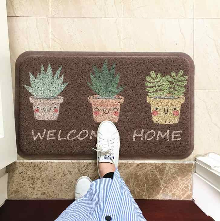 TECHOME Dust Removal Carpet Wire Loop Footpad Lovely Plant Mat in the Hallway Kitchen Bath Non-slip Entrance Doormat