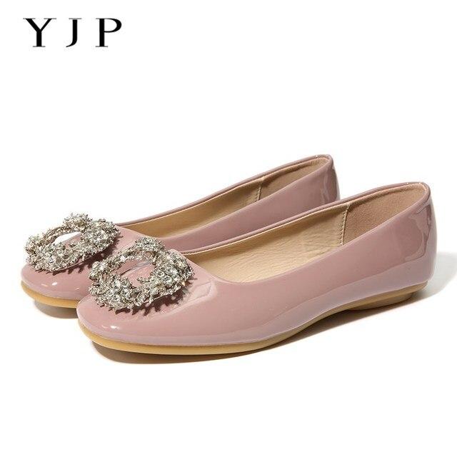 YJP Женские балетки на плоской подошве, красный/розовый/бежевый хрустальные цветы туфли из лакированной кожи на плоской подошве, со стразами квадратный носок обувь без шнуровки