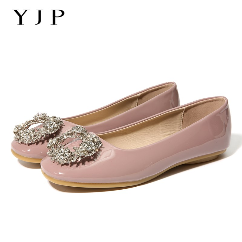 YJP Women Ballet Flats, Red/Pink/Beige Crystal Flowers Patent Leather Flat Shoes, Ladies Rhinestone Square Toe Slip On Shoes brilliant genuine sheepskin leather flat heel single shoes 2016 spring summer square toe rhinestones black rose red ballet flats