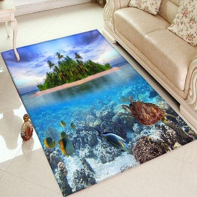 Else Tropical Island Under Sea Fishes View 3d Print Non Slip Microfiber Living Room Decorative Modern Washable Area Rug Mat
