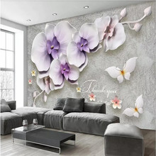 Retro new Chinese embossed three-dimensional phalaenopsis gypsum TV background wall manufacturers wholesale wallpaper murals cus