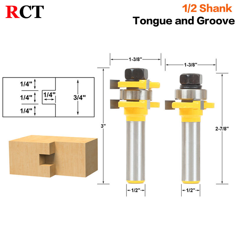 Tongue and Groove Router Bit Set 1/4 x 1/4 - 1/2 Shank Shaker Woodworking Chisel Cutter Tool RCT 15213 2pcs tongue