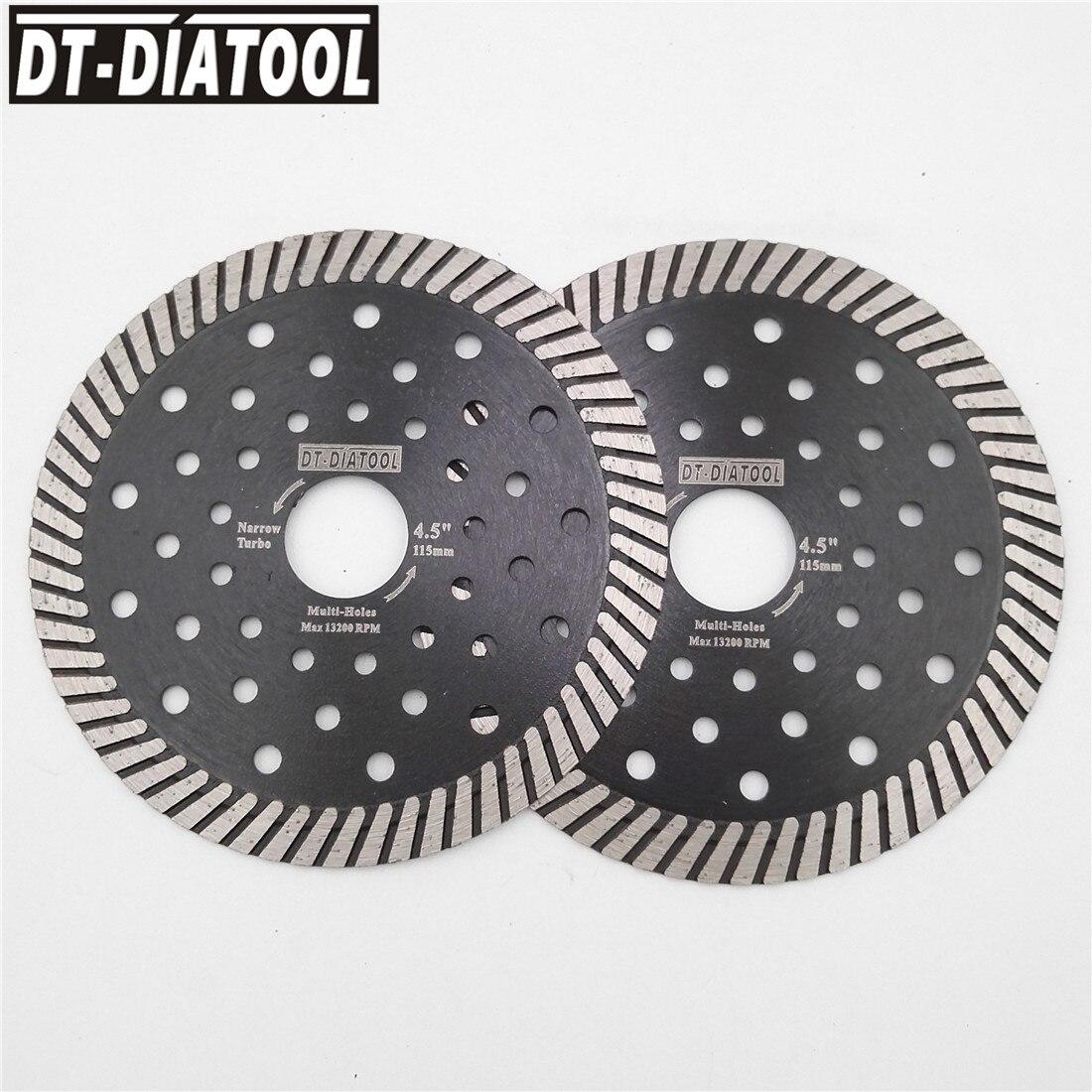 DT-DIATOOL 2pcs 4.5 Inch Diamond Hot Pressed Narrow Turbo Saw Blade Dia115MM Cutting Disc Segment With Protection Masonry
