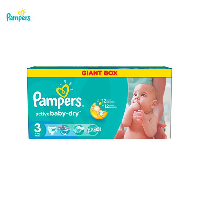 Подгузники PAMPERS Active Baby-Dry Midi 4-9 кг Giant Plus  108