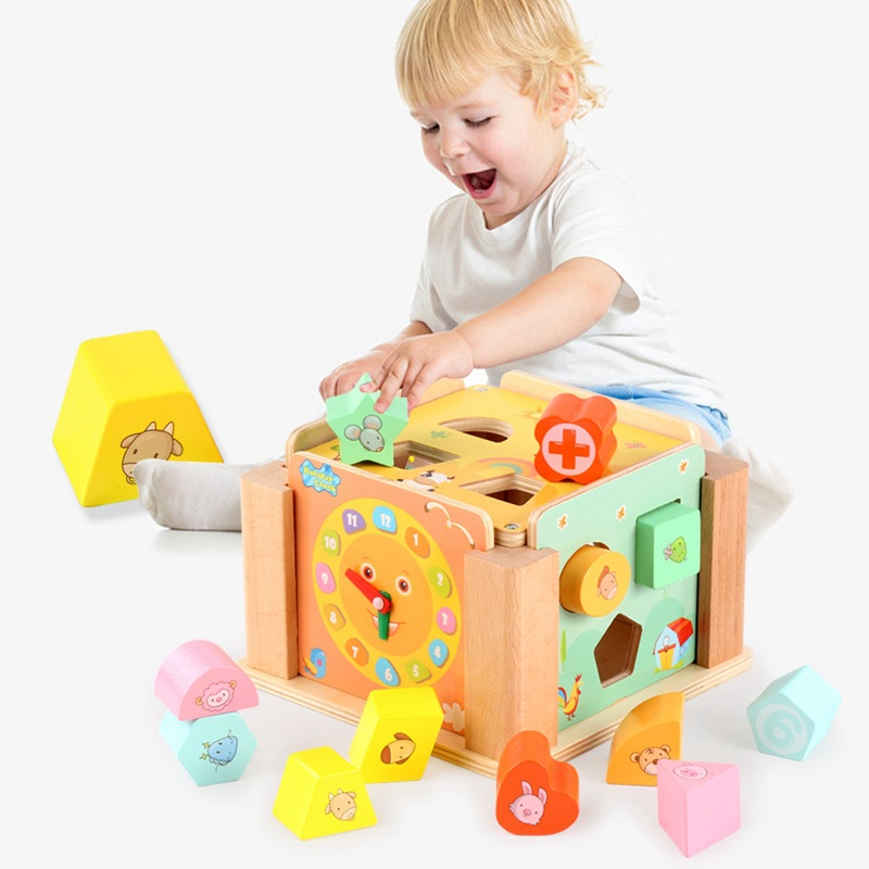 Jouets éducatifs en bois arc-en-ciel Drewniane klocki naturel en bois jouets blocs de bois Houten blokken naturel Oyuncak Secret box cadeaux