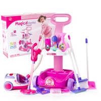 Aspirateur Jouet pour enfants ménage nettoyage chariot jouer jeu ensemble Mini nettoyage chariot pour fille Aspirateur Jouet noël