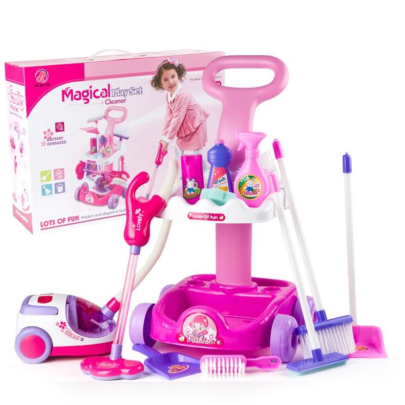 Aspirateur Jouet pour enfants ménage nettoyage chariot jouer jeu ensemble Mini nettoyer panier pour fille Aspirateur Jouet de noël