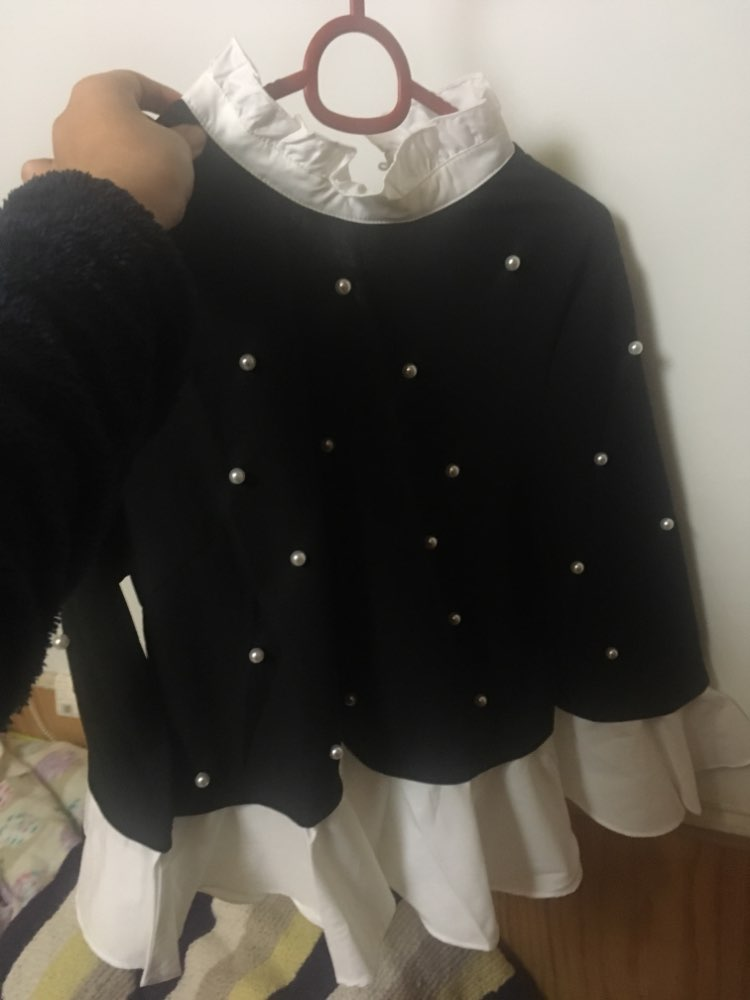Contrast Frill Trim Pearl Embellished Top Black And White Contrast Collar Three Quarter Length Flare Sleeve Blouse photo review