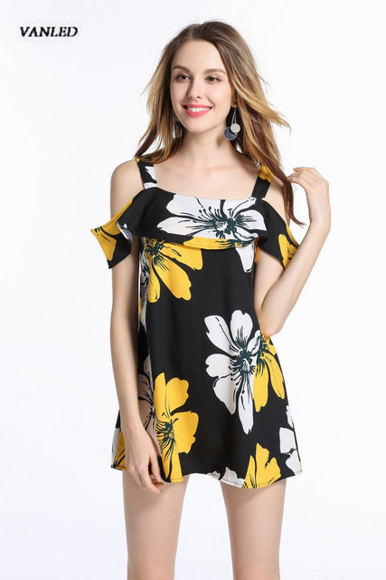 VANLED Women s Dress 2017 Hot Summer Casual Cute mini Off Shoulder falbala  dress Beach Sexy Dresses Women 4 Size Vestidos Z078 68275c0798aa