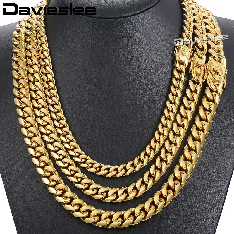 Davieslee Mens Necklace Chain Miami Curb Cuban 316L Stainless Steel Hip Hop Silver Gold Color 8/12/14mm LHNM19