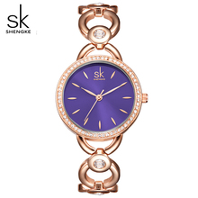 SK Brand Women Watches Small Lady Wrist Watch Fashion Gold Round Case Blue Dial Quartz Clock Wristwatches Relogio Femininos