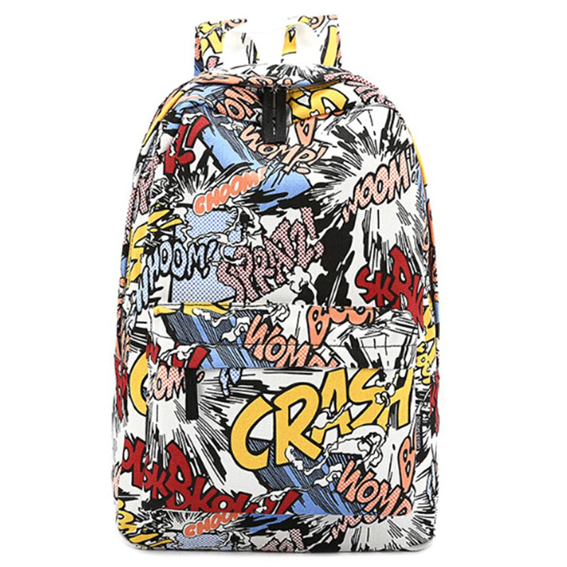 Canvas Graffiti Backpack Students School Bag For Girls Boys Backpacks Bags Cartoon Printing Rucksack Street Escolar Bag high q cartoon rick and morty 2017 new arrival backpack students couple printing candy color leisure bags