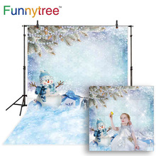 Funnytree backgrounds for photography studio snowman winter Christmas gift decor children professional backdrop photocall