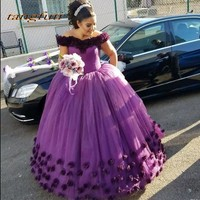 Purple Ball Gown Long Princess Quinceanera Dresses Girls Flowers Masquerade Sweet 16 Dresses Prom Party Gown vestidos de 15 anos