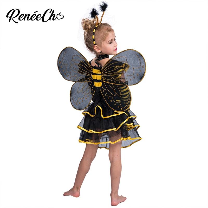 Halloween Costume For Kids Girl Bee Costume Cosplay Cute Child Sunny Honey Bee Costume Dress Headband Wing 3 Piece Suit