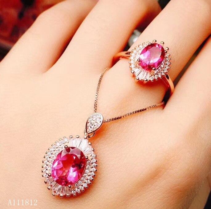 KJJEAXCMY boutique bijoux 925 pur argent incrusté poudre naturelle topaze femmes anneau pendentif collier costume soutien détection