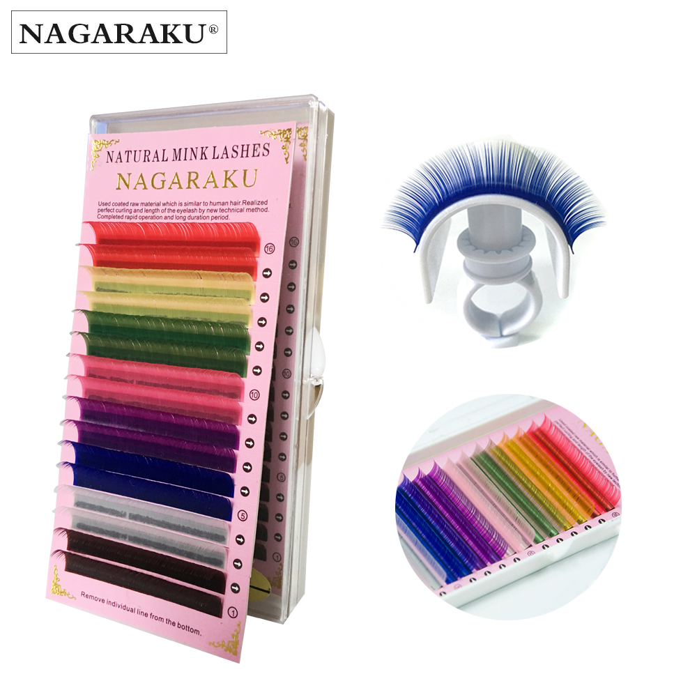 NAGARAKU 4 cases,Rainbow Color  eyelash extension super soft artificial Fake False Eyelashes macaron color eyelash