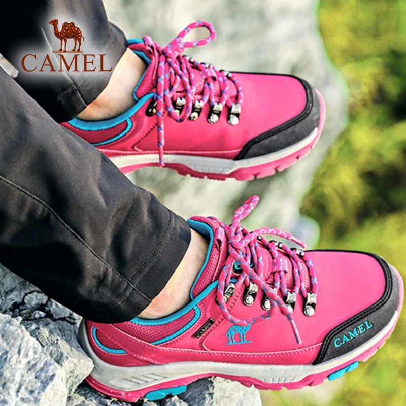 KAMEEL Vrouwen Mannen Wandelen Schoenen Mat Leer Duurzaam Anti-Slip Zool Verhogen Outdoor Ademend Bergbeklimmen Trekking Schoenen