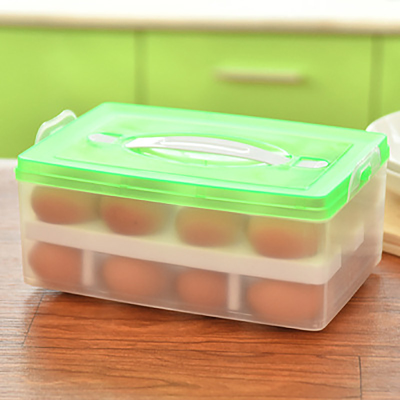 Egg Box Double Layer Storage Kitchen Container Fridge Organizer Picnic  Plastic Stackable Handy Organizer Kitchen Supplies In Storage Boxes U0026 Bins  From Home ...