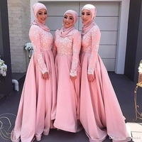 Pink Long Sleeves Muslim Evening Dresses 2020 Hijab Abaya Moroccan Kaftan Lace Appliques A Line Formal Prom Party Gown