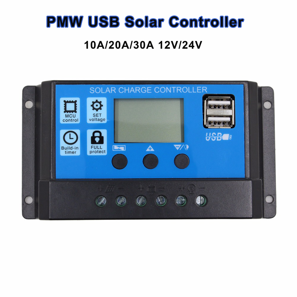 30A 20A 10A PWM 24V/12V Auto Solar Panel Battery Charge Controller LCD Display Solar Collector Regulator with 5V Dual USB Output boguang 20a 12v 24v solar controller mppt system kit solar panel battery light charger led display with dual usb 5v regulator