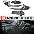 Отделка ковра порога для Renault Sandero 2014-Внутренний порог шаг пластины отделка защита аксессуары с покрытием автомобиля Стайлинг украшения