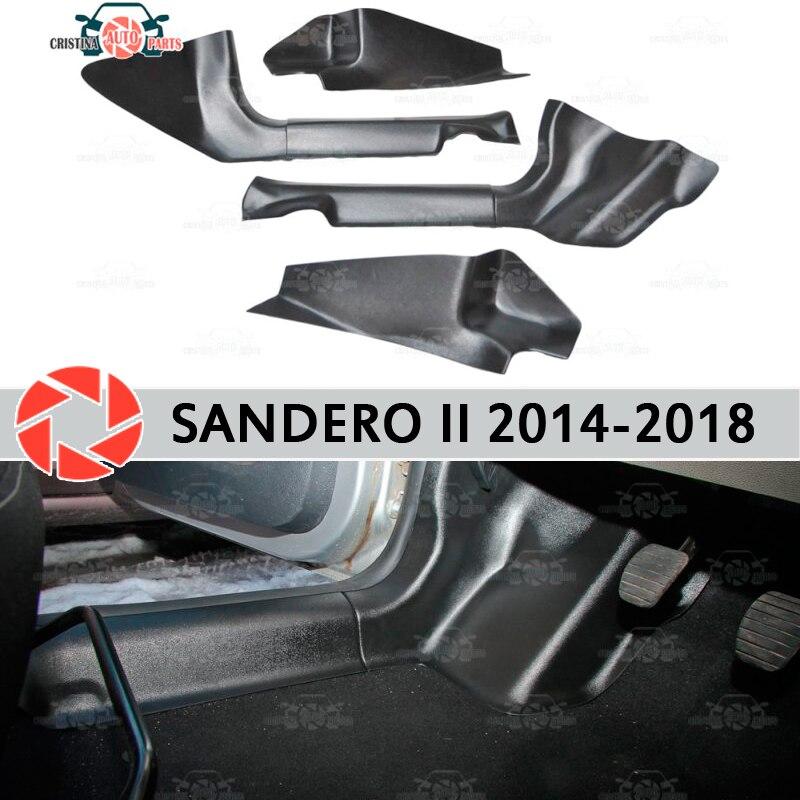 Garniture de seuil de porte tapis pour Renault Sandero 2014-seuil intérieur marchepied plaque garniture protection tapis accessoires voiture style décoration