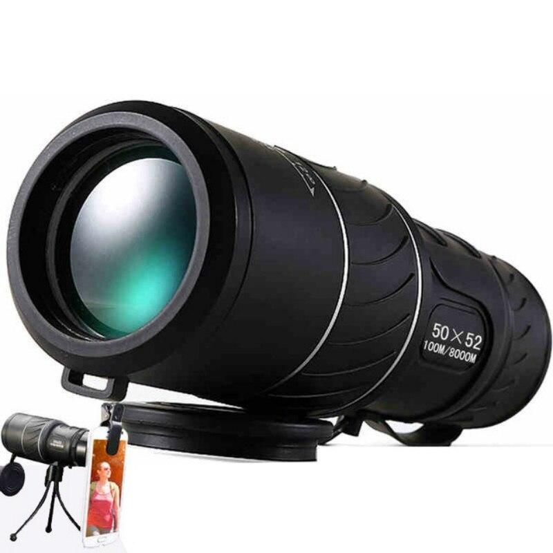 preto hd compacto monocular 50x52 zoom telescopio binoculos de alta potencia de alta definicao ajustavel daytime