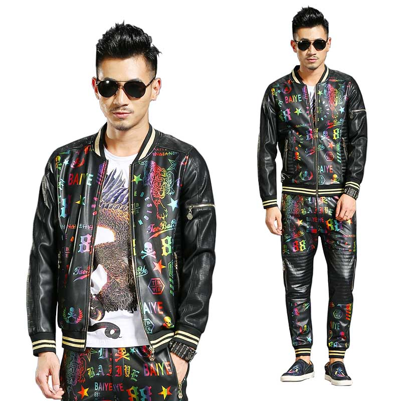 New Fashion 2 Piece Set Hip Hop Tracksuit Mens Casual Baseball Jacket With Joggers Pants Bomber Jacket Coat PU Leather Trousers
