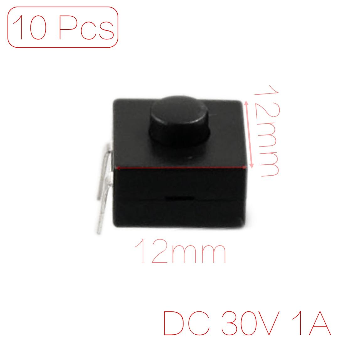 Lot de 10/Lampe torche Action de verrouillage Bouton poussoir Interrupteur DC 30/V 1/A