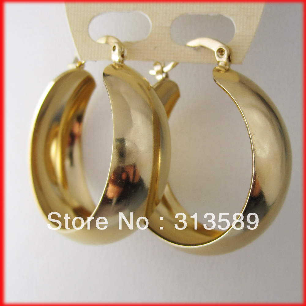 MIN ORDER 10$/CAN MIX DESIGN/- YELLOW GOLD GP OVERLAY COATED FILL BRASS HOOP 27MM 1.06