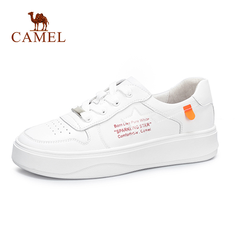 CAMEL Spring Women New Fashion Ins Single Shoes Women Casual Soft Genuine Leather White Shoes For