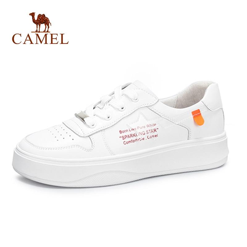 الجمل الربيع النساء جديد الأزياء Ins حذا فردي للسيدات المرأة عارضة لينة جلد طبيعي حذاء أبيض للسيدات الدانتيل الاتجاه الشقق الأحذية-في أحذية نسائية مسطحة من أحذية على  مجموعة 1