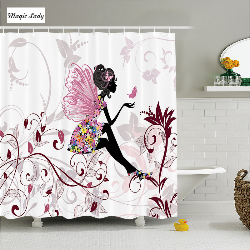 Shower curtains for girls bathroom accessories teen fairy for Bathroom accessories for girls