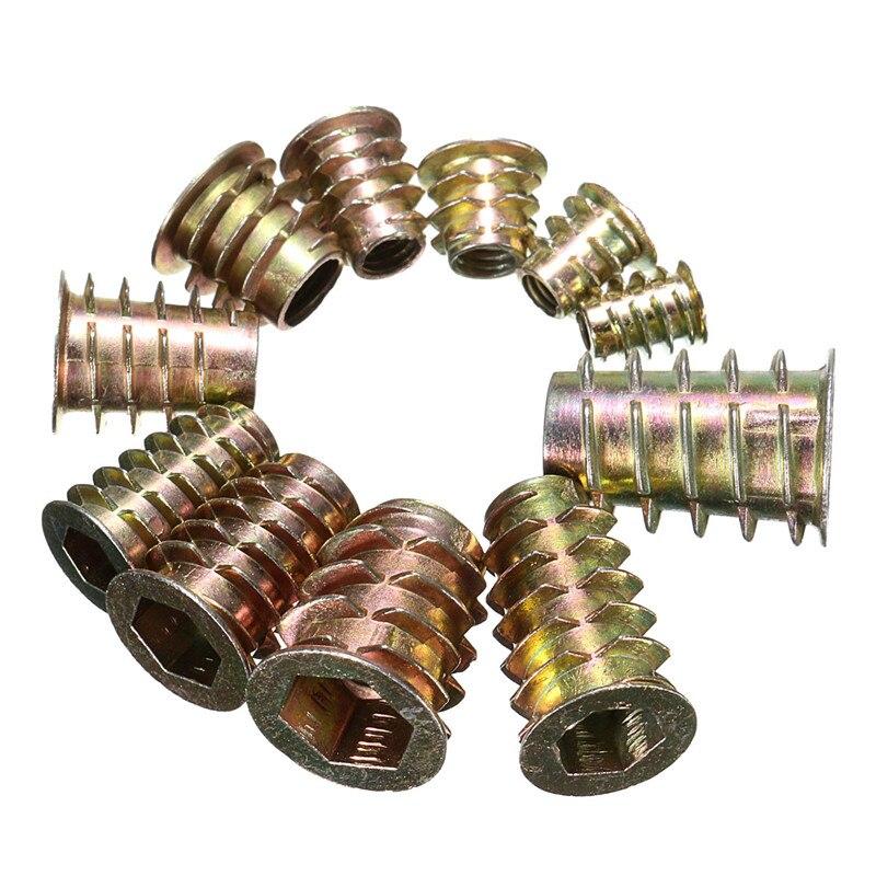 tipo E M6 X 13mm Hexagonal tornillo de rosca inserto Para Madera