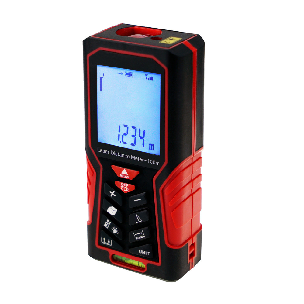 Digital Laser Distance Meter 100m (328ft) Measuring Tools Tester Handheld Range Finder Area & Volume  with Spirit BubbleDigital Laser Distance Meter 100m (328ft) Measuring Tools Tester Handheld Range Finder Area & Volume  with Spirit Bubble