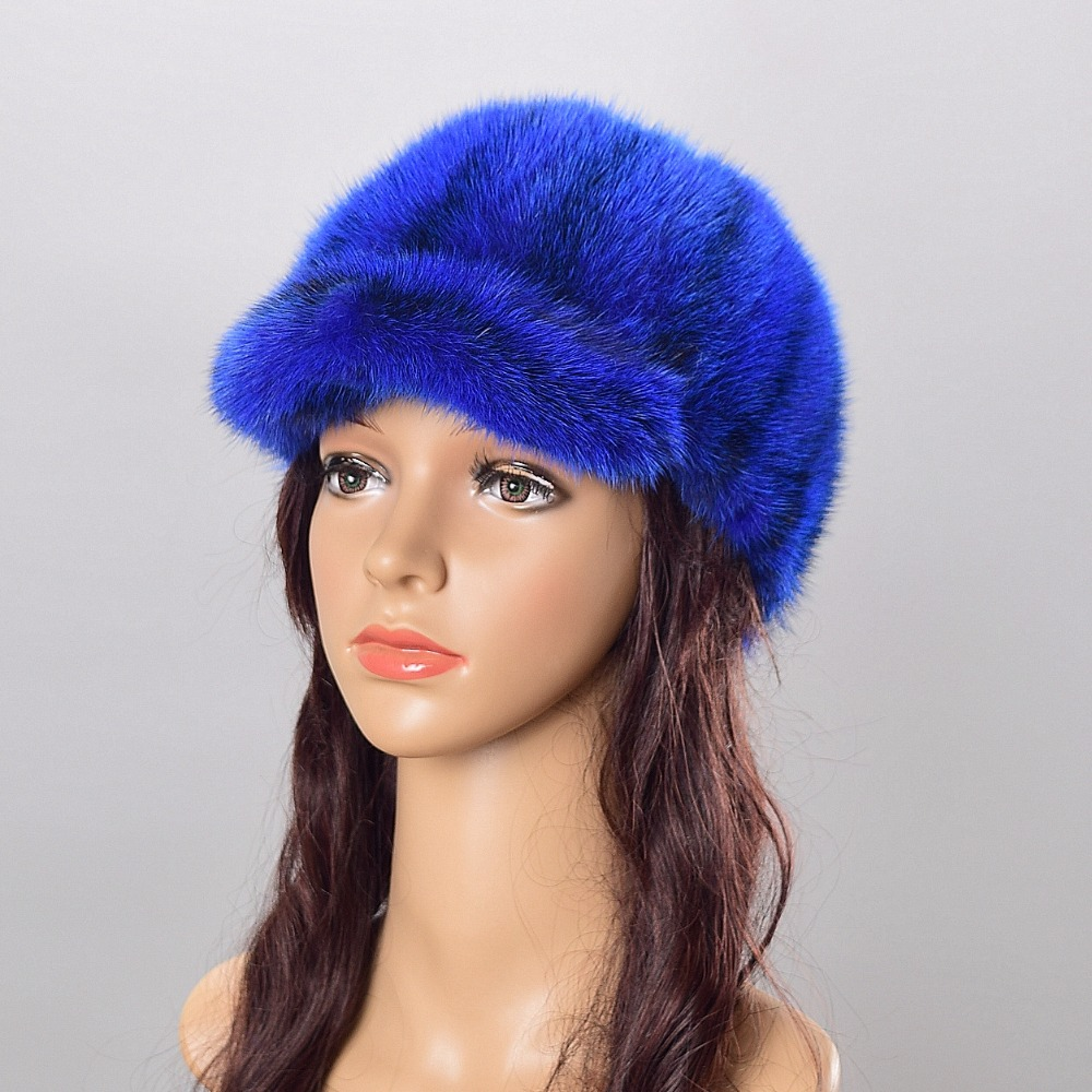 Female fur hats Mink Fur Cap Knitted Hats For Winter Women Beanies Fashion Russian Hat Women's Winter Caps Women