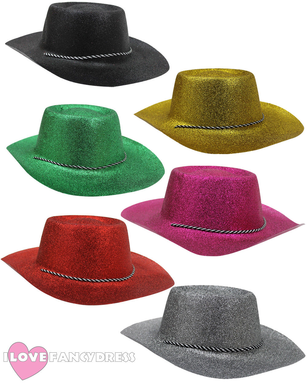 GLITTER COWBOY HAT WILD WESTERN COWGIRL SHINE BLING BLING HEN STAG NIGHT FANCY DRESS PARTY HOLIDAY CHOOSE COLOUR FAST SHIPPING