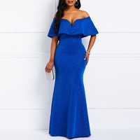 Women Dress Elegant 2019 Summer Off Shoulder Mermaid Ruffle Blue Sexy Deep V Dinner Women Maxi Long Party Dresses
