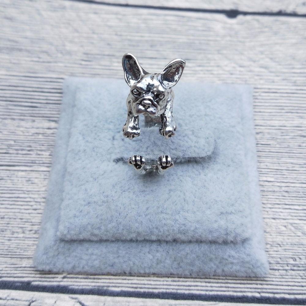 New Vintage Retro French Bulldog Rings Classic Adjustable French Bulldog Rings Women Animal Pet Dog French Bulldog Jewellery